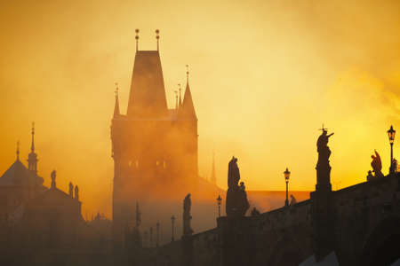 Frosty morning in Prague - Charles Bridge Stock Photo - 17170043