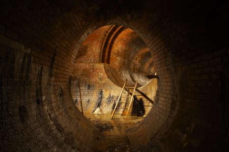 sewer: Underground old sewage treatment plant Stock Photo