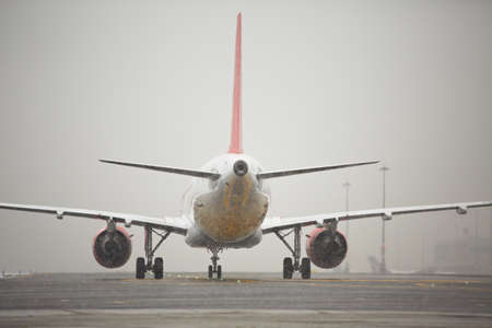 bad weather: Airport runway in bad weather