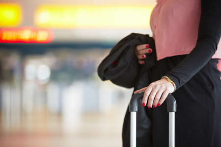 Businesswoman is waiting at the airport - selective focus Stock Photo