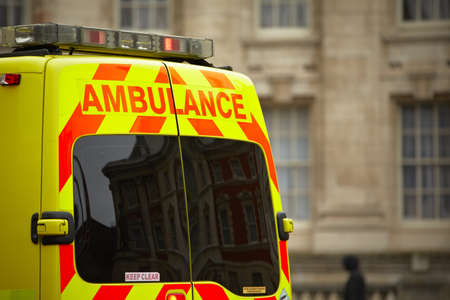 paramedic: Door of the emergency ambulance car Stock Photo