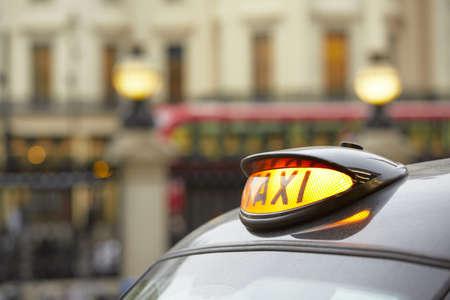 street life: Taxi car in London - selective focus  Stock Photo
