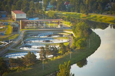 Waste water treatment plant at the sunrise, Prague photo