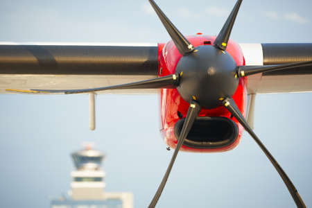 Propeller airplane at the airport, Prague