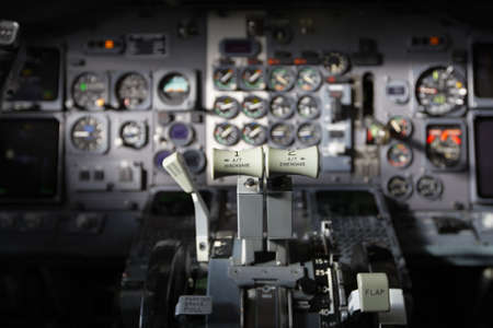 pilot cockpit: Center console and throttles in the airplane