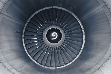 turbofan: Front view on jet engine