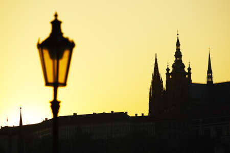 Prague Caste at the sunset photo