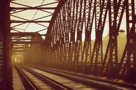 railway points: Old railway bridge - sunset light
