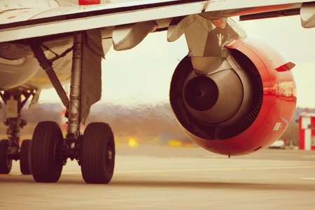 airplane landing: Hot air behind the aircraft engine.