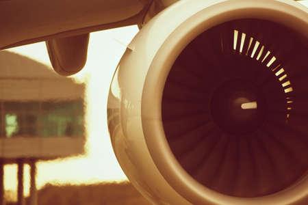 aircraft engine: Hot air behind the aircraft engine.