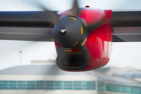 aircraft take off: Propeller airplane at the airport, Prague