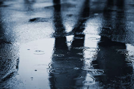 puddle: Puddle of water in rain - selective focus