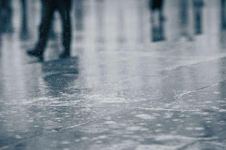Rain in the city - selective focus