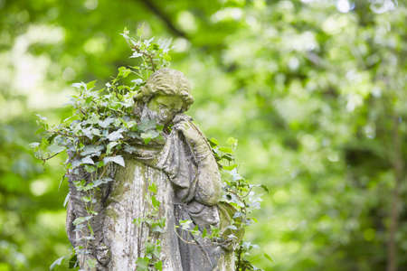 angel cemetery: Sad angel statue on old cemetery  Stock Photo