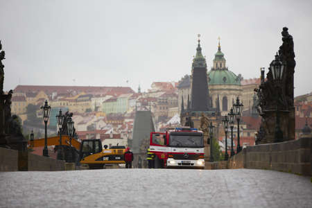 PRAGUE - JUNE 3: The Czech Capital - Prague is on high alert as a swell of floodwater moves in from the south. Charles Bridge and some streets are closed by police. Prague on June 3, 2013, Czech Republic.