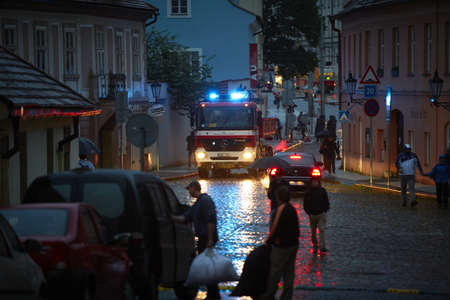 PRAGUE - JUNE 2: The Czech Capital - Prague is on high alert as a swell of floodwater moves in from the south. Some streets in old town is closed. Prague in June 2, 2013 in Prague, Czech Republic.
