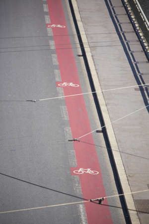 Bicycle sign path on the road - Prague photo
