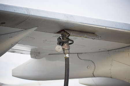 Refueling the aircraft - selective focus photo