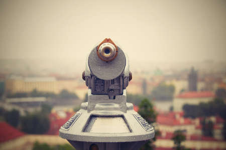 Binocular for use by tourists at Prague - selective focus photo