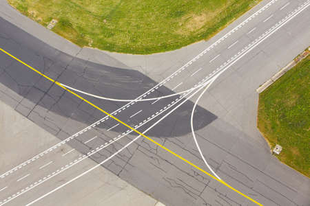 airport runway: Airfield - marking on taxiway is heading to runway