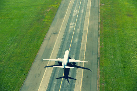aircraft take off: Airport - airplane before take off Stock Photo