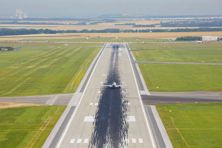 airplane landing: Marking on the beginning of the long runway