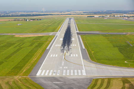 airport runway: Marking on the beginning of the long runway