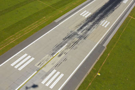 Marking on the beginning of the long runway Stock Photo - 21413205
