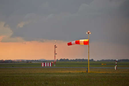windsock: The storm is approaching the airport - copy space  Stock Photo