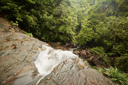 Wild water of the waterfall in Sri Lanka. photo