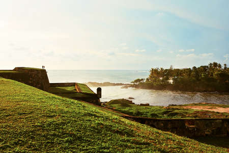 galle: Lighthouse in fort in Galle at the sunset - Sri Lanka