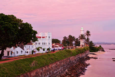 galle: Lighthouse in fort in Galle at the sunset - Sri Lanka Stock Photo
