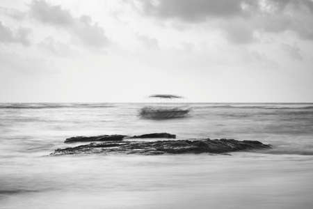 Black and white view on the seashore in Sri Lanka photo