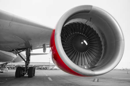 travel industry: Engine of the airplane at the airport.