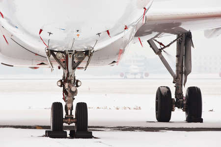 Aircraft covered by snow after a snow storm. photo