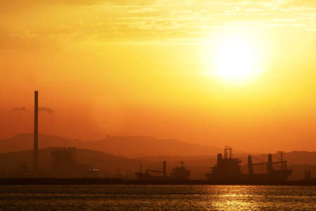 View from Gibraltar to the Spanish industrial zone. photo