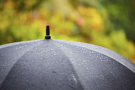 Black umbrella in heavy rain - selective focus photo