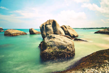 Stones on the idyllic beach in Sri Lanka. photo