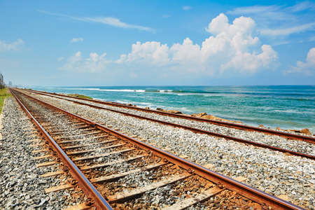 Coastal railroad track in Colombo, Sri Lanka  photo