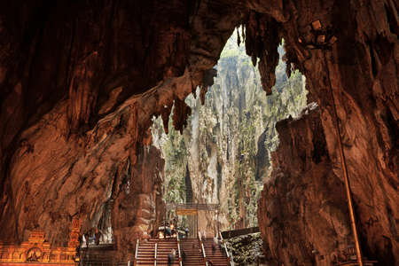 cave: Temple in the middle of a cavern at Batu Caves Temple complex in Kuala Lumpur, Malaysia.