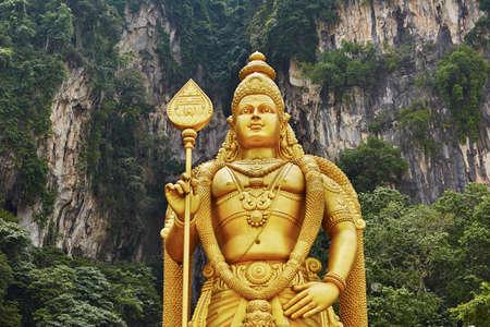 Statue of hindu god Muragan, Batu Caves Temple complex in Kuala Lumpur, Malaysia.  photo