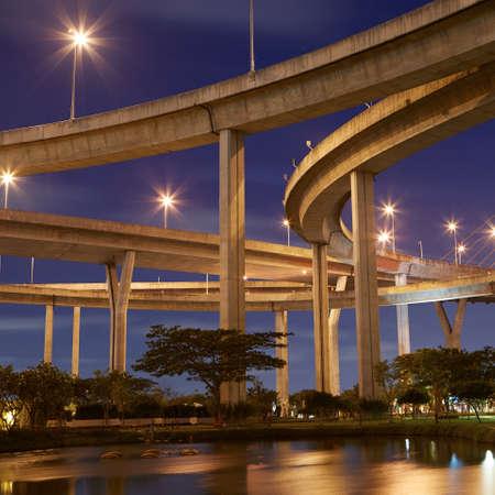 express lane: Huge elevated crossroad (Bhumibol bridge) in Bangkok, Thailand  Stock Photo