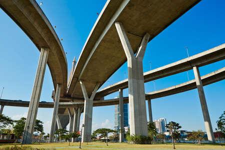 metropolitan: Huge elevated crossroad (Bhumibol bridge) in Bangkok, Thailand  Stock Photo