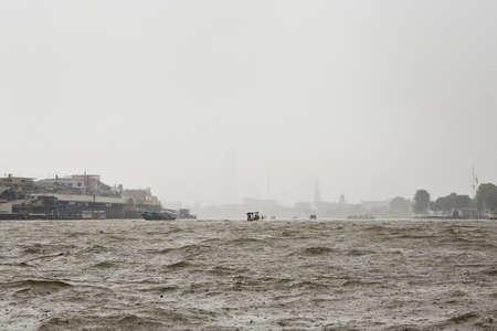 chao phraya river: Heavy rain on Chao Phraya river in Bangkok