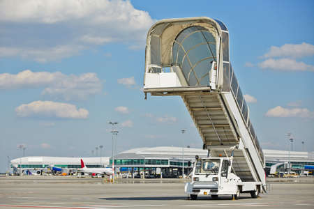Mobile gangway for airplanes - Airport in Prague