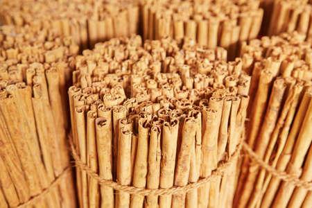 cinnamon bark: Sticks of cinnamon in small workshop in  Sri Lanka. Stock Photo
