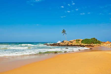 Sunny day on idyllic beach in Sri Lanka photo