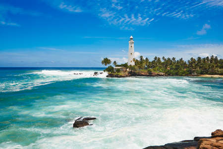 Beautiful white lighthouse in Dondra in south Sri Lanka.