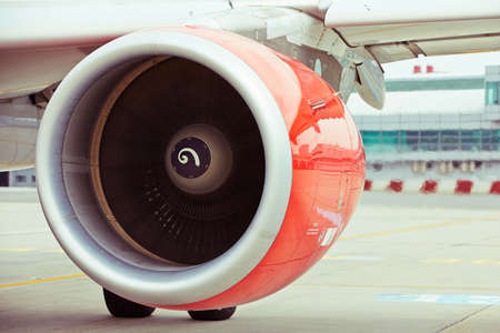 airplane take off: Hot air behind the aircraft engine
