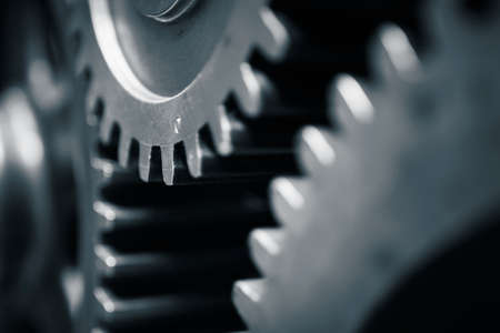 Large cog wheels in the motor - blue toned
